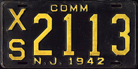 New Jersey Commercial Truck License Plate 1942