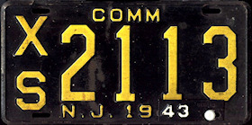 New Jersey Commercial Truck License Plate 1943