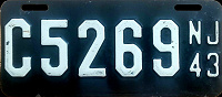 New Jersey Motorcycle License Plate 1943