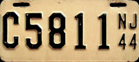 New Jersey Motorcycle License Plate 1944