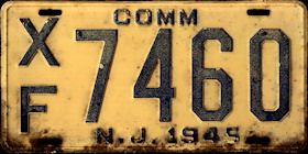 New Jersey Commercial Truck License Plate 1945