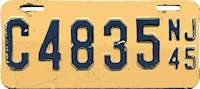 New Jersey Motorcycle License Plate 1945