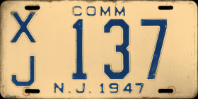 New Jersey Commercial Truck License Plate 1947