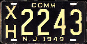 New Jersey Commercial Truck License Plate 1949