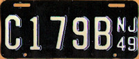 New Jersey Motorcycle License Plate 1949