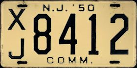New Jersey Commercial Truck License Plate 1950