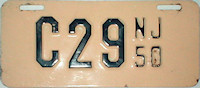 New Jersey Motorcycle License Plate 1950