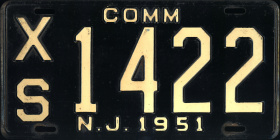 New Jersey Commercial Truck License Plate 1951