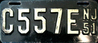 New Jersey Motorcycle License Plate 1951