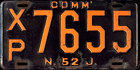 New Jersey Commercial Truck License Plate 1952