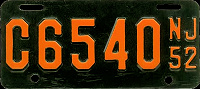 New Jersey Motorcycle License Plate 1952