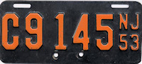 New Jersey Motorcycle License Plate 1953