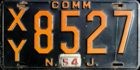 New Jersey Commercial Truck License Plate 1954