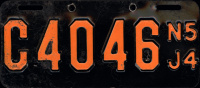 New Jersey Motorcycle License Plate 1954