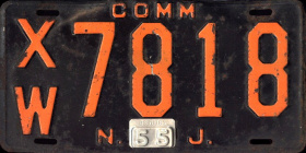 New Jersey Commercial Truck License Plate 1955