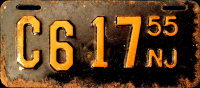 New Jersey Motorcycle License Plate 1955