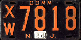 New Jersey Commercial Truck License Plate 1956