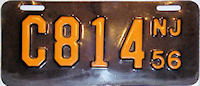 New Jersey Motorcycle License Plate 1956