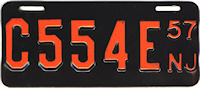 New Jersey Motorcycle License Plate 1957