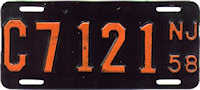 New Jersey Motorcycle License Plate 1958