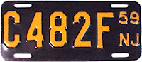 New Jersey Motorcycle License Plate 1959