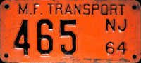 New Jersey Motor Fuel MF Transport License Plate