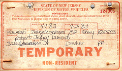 New Jersey Temporary Tag License Plate