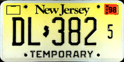 New Jersey Dealer Temporary License Plate