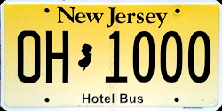 New Jersey Hotel Bus License Plate