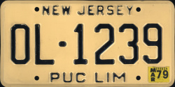 New Jersey PUC LIM Public Utilities Commission Limousine Livery License Plate
