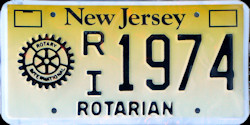 New Jersey Rotary International Rotarian License Plate