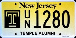 New Jersey Temple University License Plate