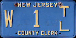 New Jersey County Clerk License Plate