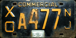 New Jersey Commercial Truck License Plate 1959