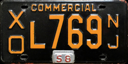 New Jersey Commercial Truck License Plate 1958