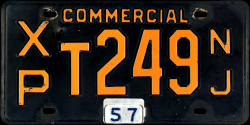 New Jersey Commercial Truck License Plate 1957