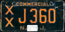 New Jersey Commercial Truck License Plate 1960